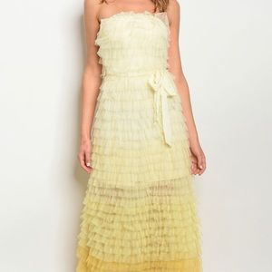 Brand New Strapless Yellow Tulle Ruffle Maxi Dress